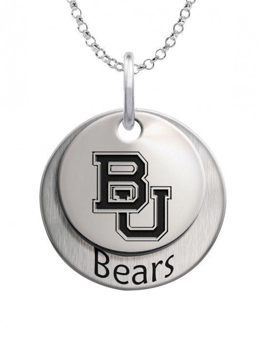 Baylor Bears Cufflinks Sterling Silver Medium Size Round Top