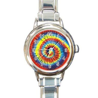 Tie Dye Design Italian Charm Metal Watch Silvertone 12709757: Watches: Amazon.com