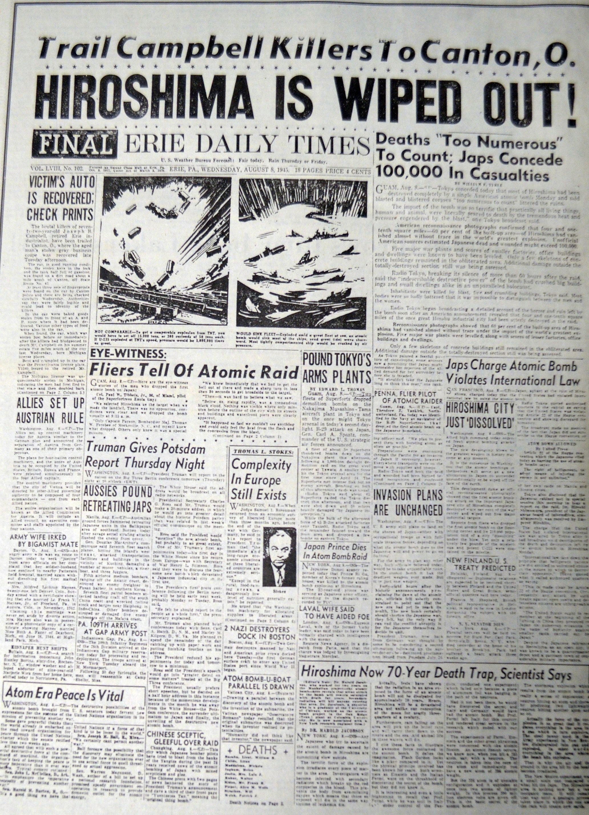 Iconic Front Page Detailing Coverage Of The Atomic Bomb Dropped On Hiroshima Dated August 8 1945 Newspaper Headlines Historical Newspaper Historical News