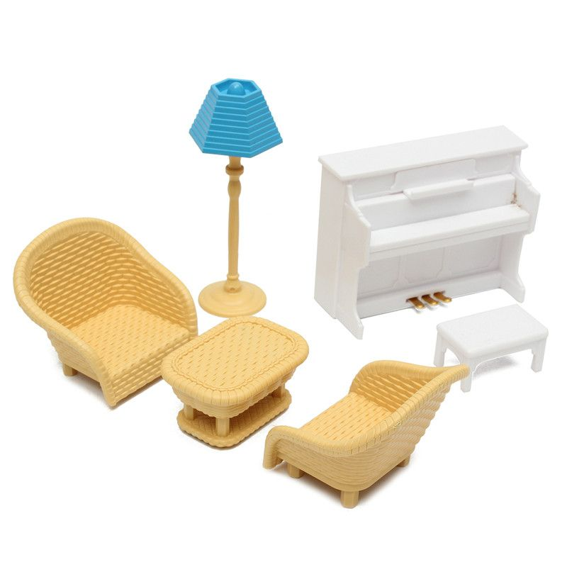 Dollhouse Sofa Piano Table Miniature Furniture Sets For Sylvanian Family A NEW