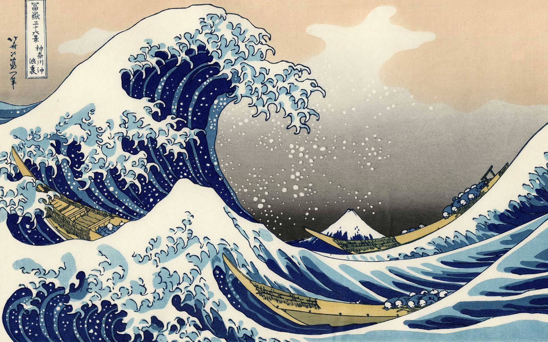 Wallpaperawesome Wallpapers Awesome Famous Painting Artist Painter Brush Oil On Canvas Wallpaper Katsushika Hokusai The