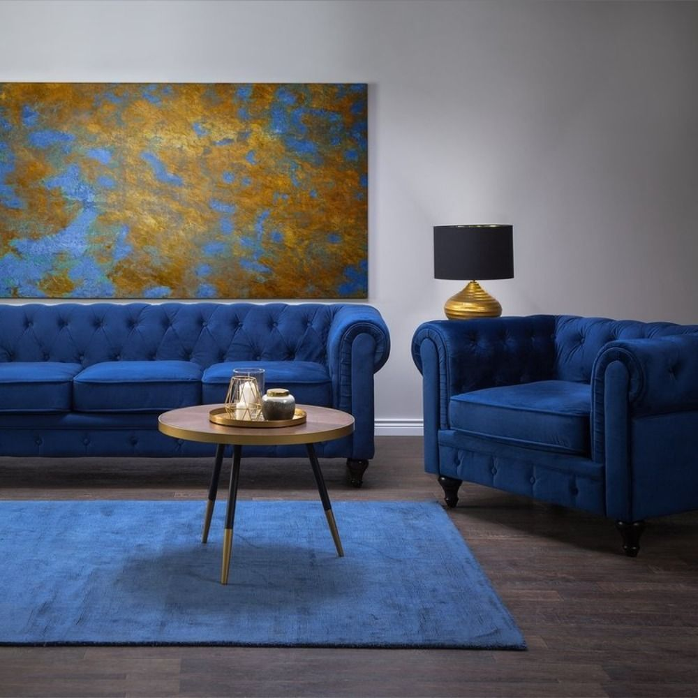 Velvet Navy Blue Chesterfield Luxurious Living Room Glamour Interior Cheap Living Room Sets Velvet Living Room Chesterfield Sofa Living Room