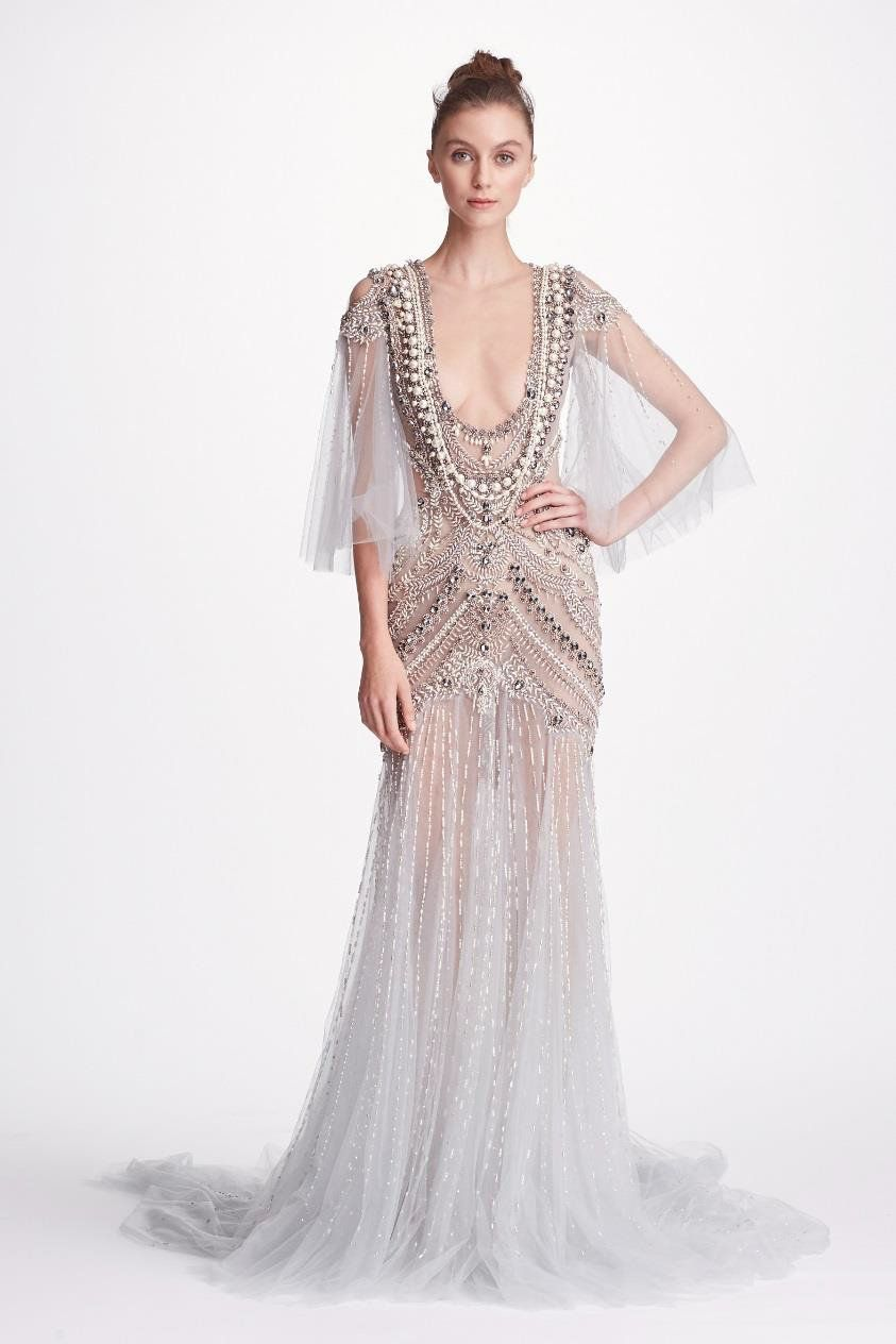 Marchesa couture tulle gown with cape sleeves pearl my wedding