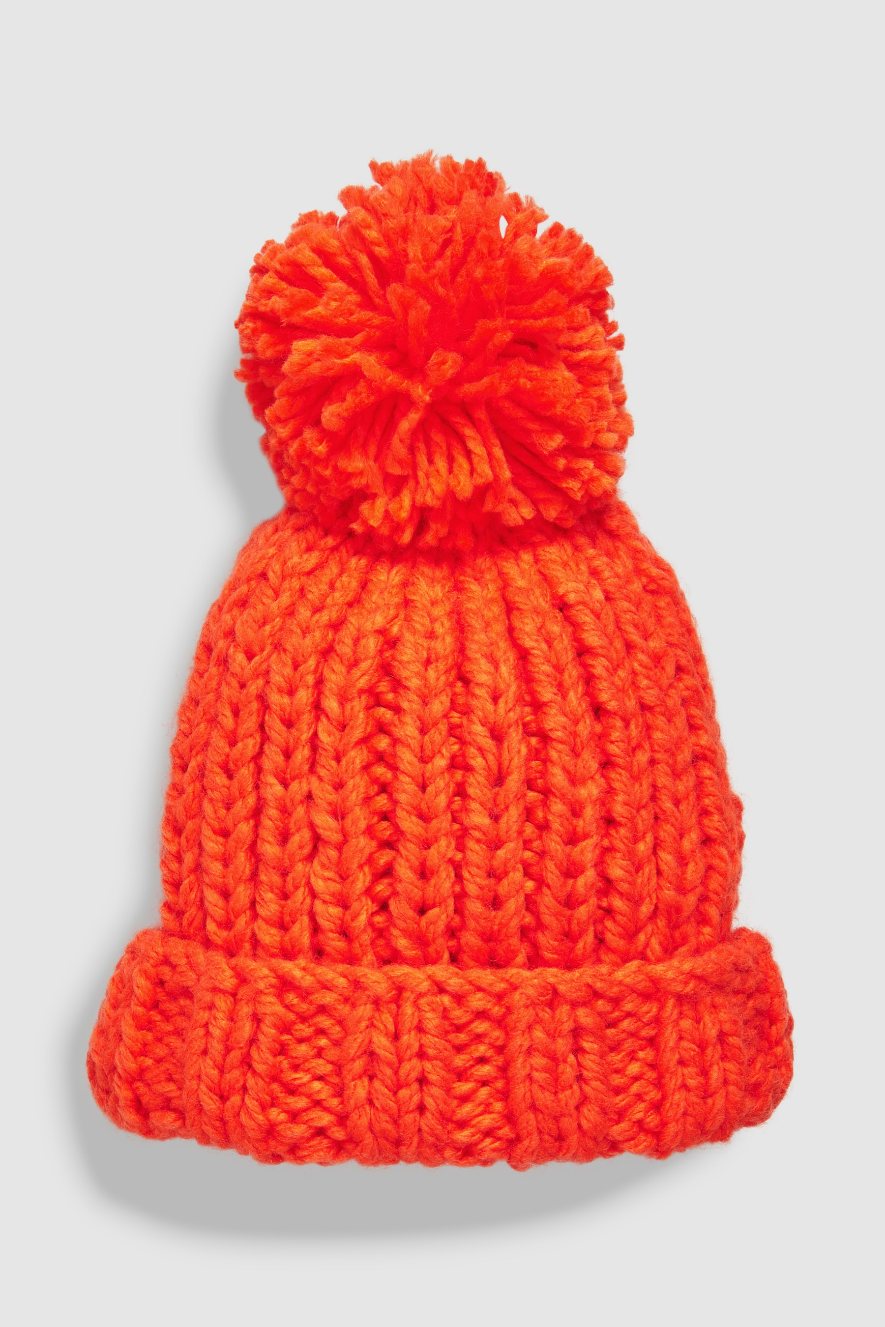 eece031aad4 Girls Next Orange Hand Knitted Pom Beanie Hat (Older) - Orange ...