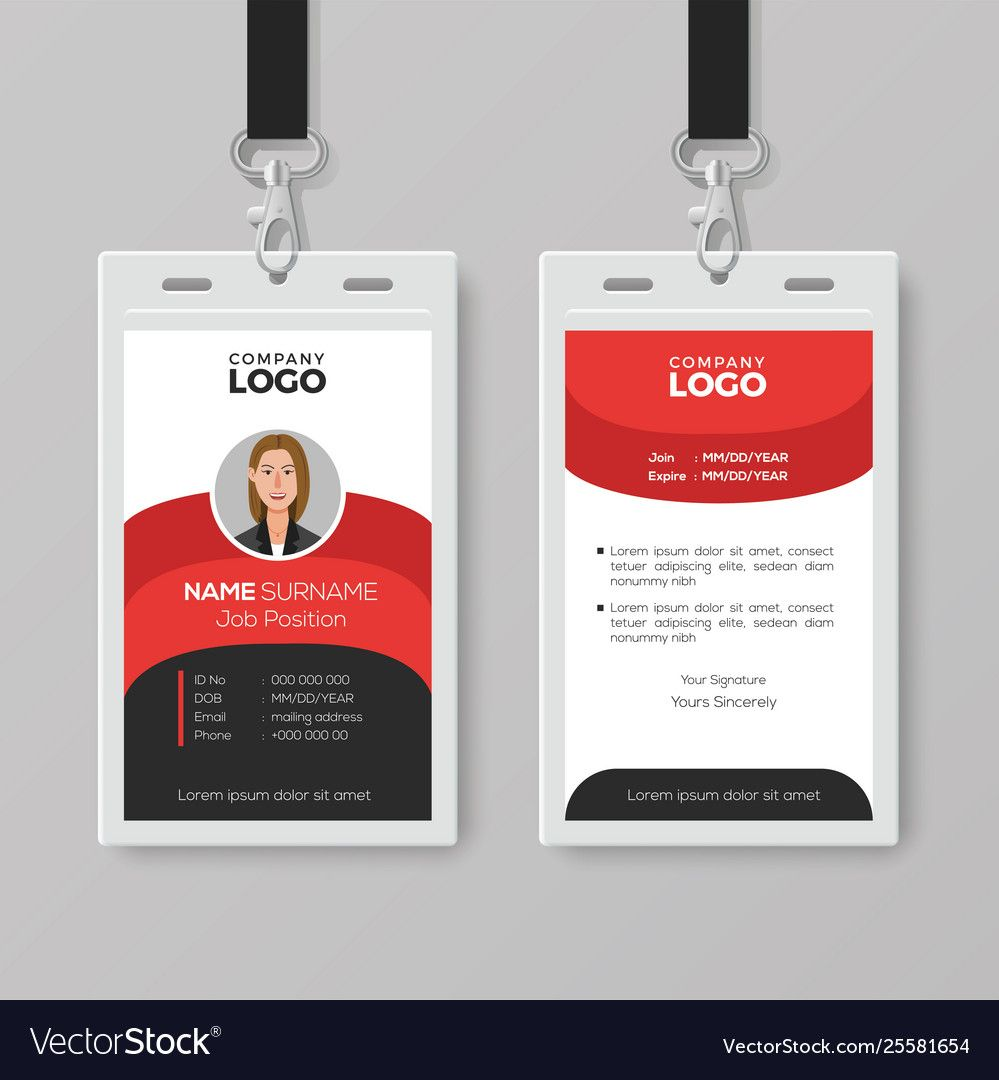 Professional Employee Id Card Template In Template For Id Card