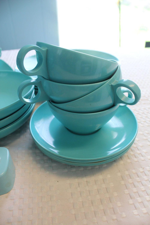 1950u0027s - 1960u0027s Vintage Blue Melmac Dinnerware u0026 Serving Set from abbyelaina on Etsy & 1950u0027s - 1960u0027s Vintage Blue Melmac Dinnerware u0026 Serving Set from ...