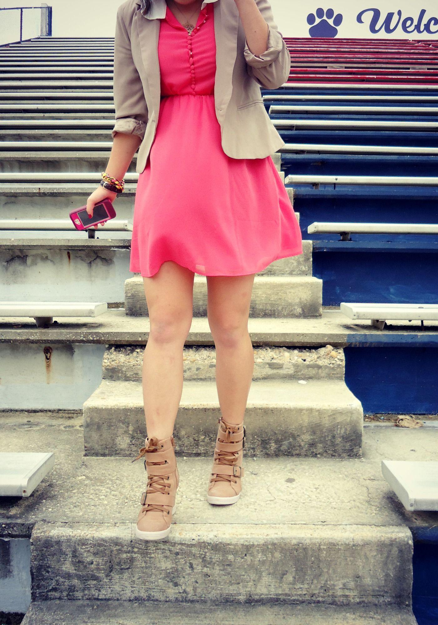 blazer + coral dress + sneaker wedges.