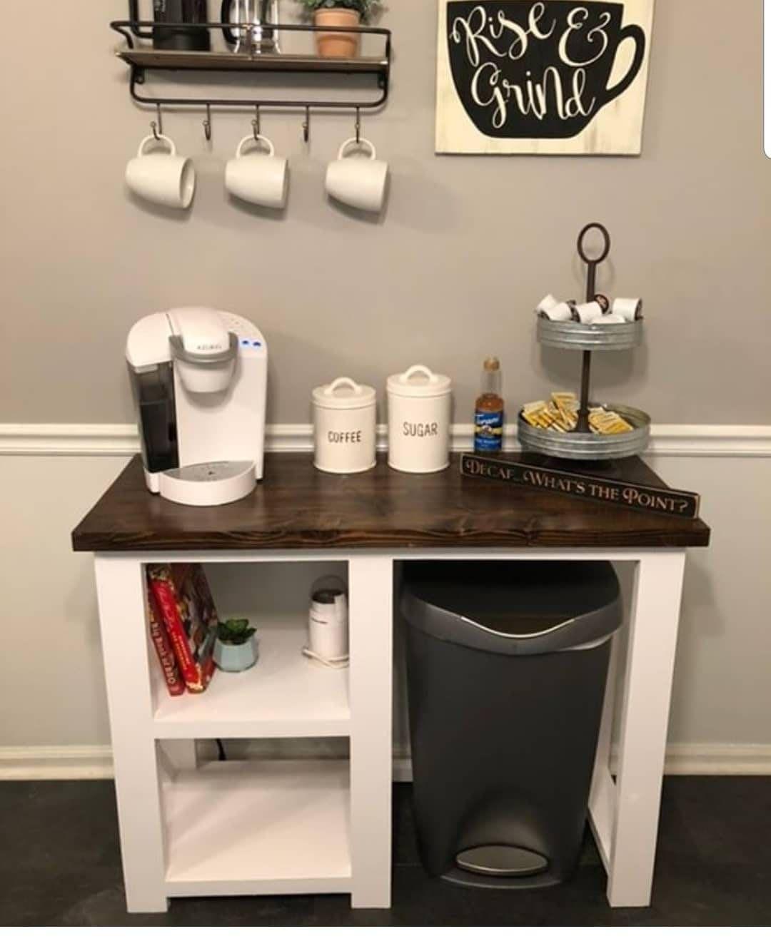 Rustic X Coffee Bar / Rustic X Farmhouse Coffee Bar / Mini Fridge Table / Dining Bar / Farmhouse Bar / Fridge Table / Mini Fridge Console