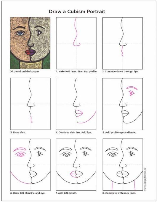 How to draw a cubism face cubism diagram and picasso how to draw a cubism face art projects for kids ccuart