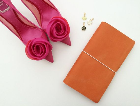 SunKiss Orange Matte - Standard Size Midori Refillable Leather Journal