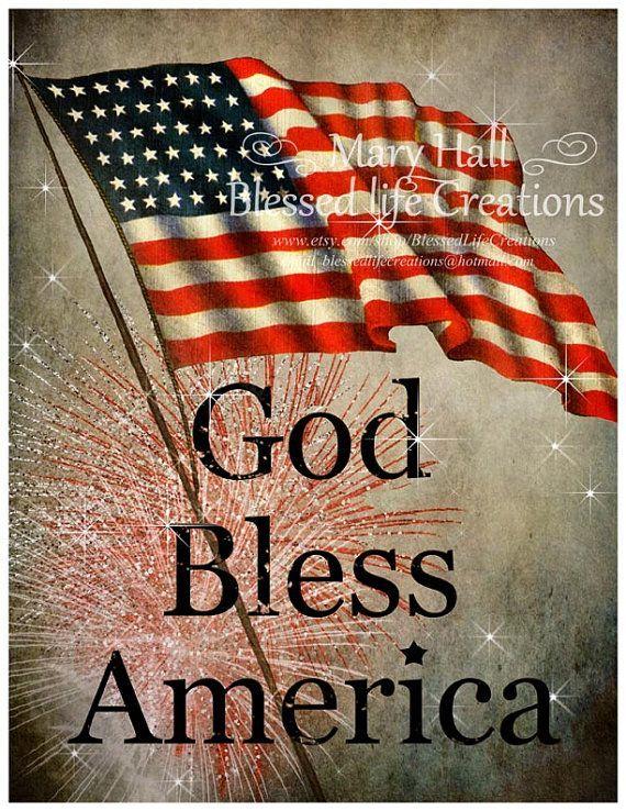 Vintage God Bless America Clip Art Shabby Vintage Inspired Patriotic Art Print God Bless America Instant I Love America God Bless America Patriotic