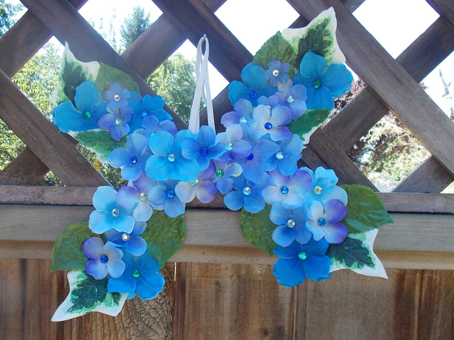 Child Size Blue Fairy Wings With Green Leaves And Gems Blue And