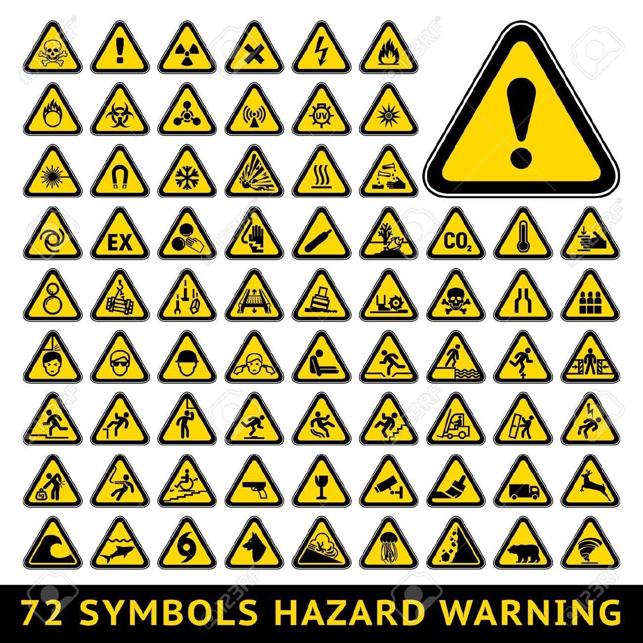 Warning symbols hand google search put on the kids 100th day illustration of triangular warning hazard symbols big set vector art clipart and stock vectors buycottarizona