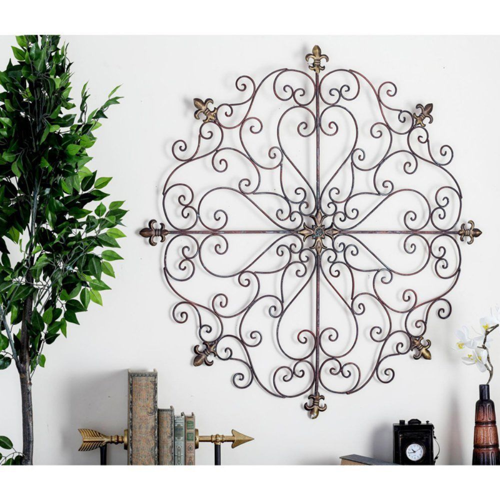 Large Vintage Rustic Decorative Scroll Wrought Iron Metal Wall Grille Art Plaque Home Garden Décor Sculptures Ebay
