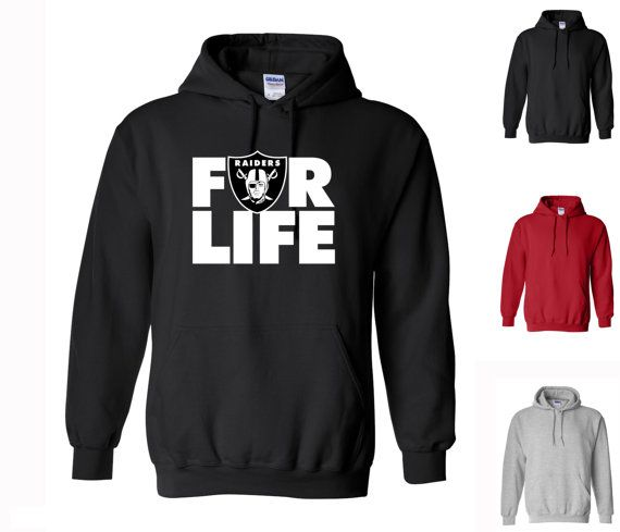 Raiders For Life Hoodie - dope football Oakland Raiders logo swag black, red and gray all sizes 169