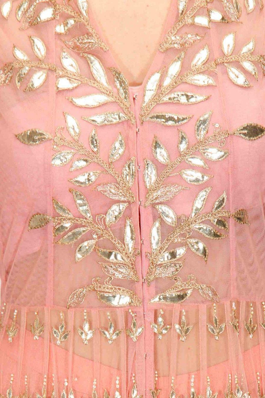 Blush pink gota patti embroidered jacket with sharara