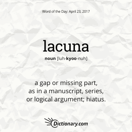 lacuna - Definitions for lacuna a gap or missing part, as in a ...