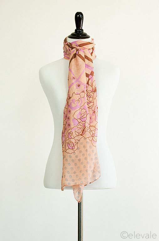"""multi print scarf - peach 