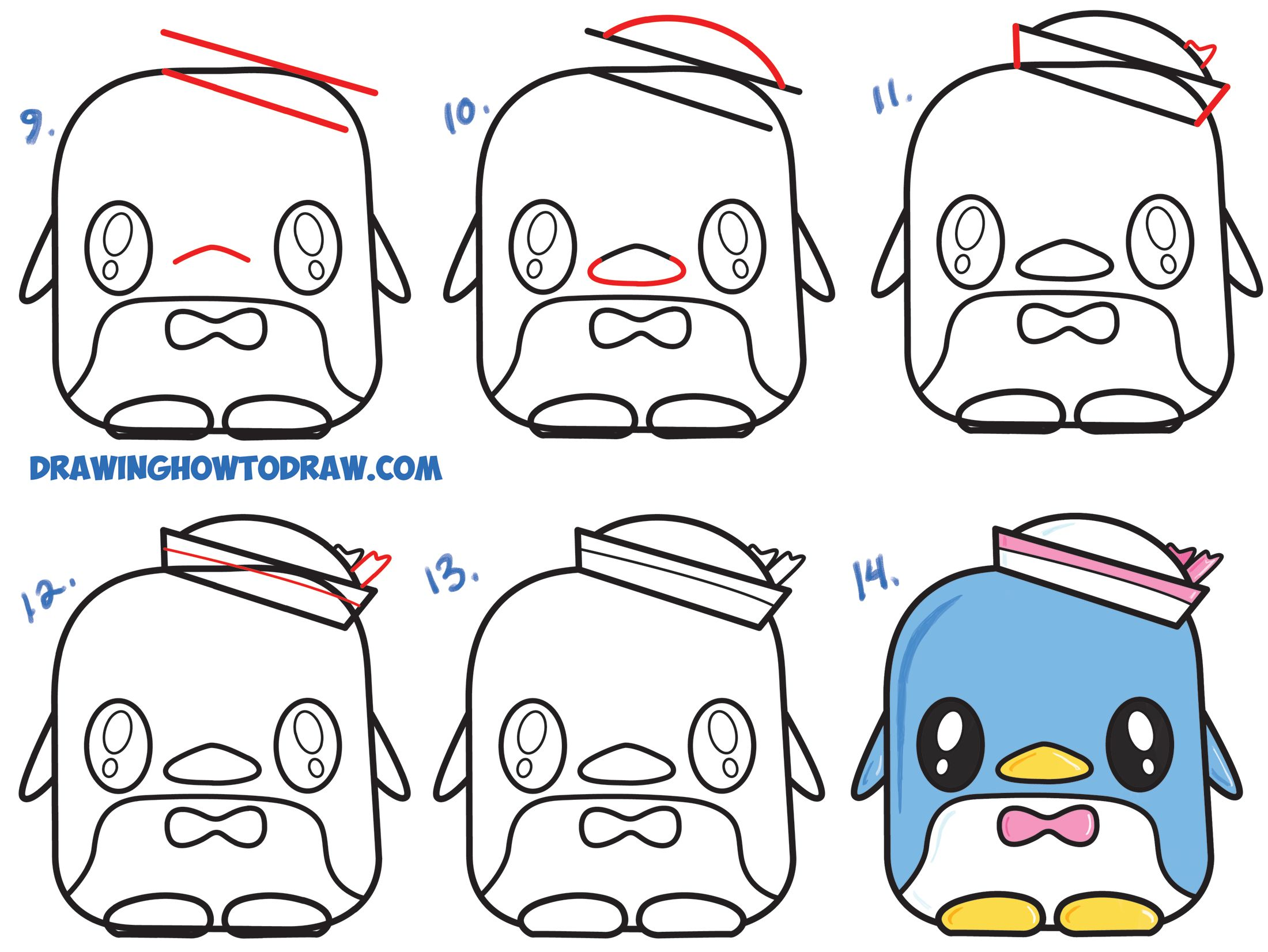 Learn How To Draw Tuxedo Sam Cute Kawaii Chibi Penguin From Hello Kitty Simple Steps Drawing L Kawaii Penguin Hello Kitty Characters Drawing Lessons For Kids