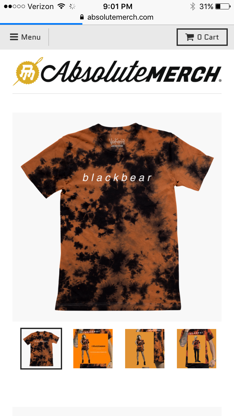 44f0448cd900 Blackbear absolute merch limited time only tee shirt Black Tie Dye Shirt, Tie  Dye Shirts