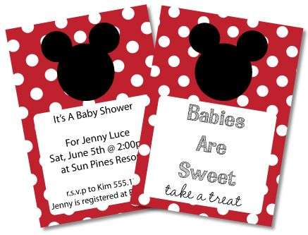 Free Mickey Mouse Baby Shower Invitations Clipart Minnie Mouse