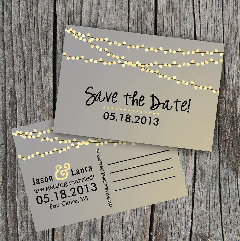 Save the date postcard string of lights rustic wedding wedding save the date postcard string of lights rustic wedding junglespirit Gallery