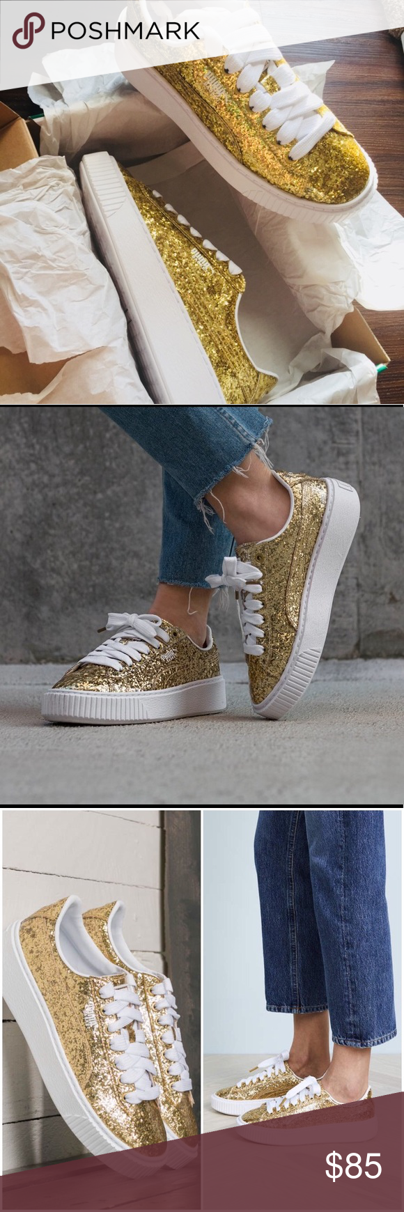 a347d485976858 Puma Basket Platform Gold Glitter Sneakers Puma Basket Gold Glitter  Sneakers. Synthetic leather upper with gold glitter. White logos. New in  box. Size 7.