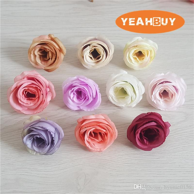 100pcs 10colors 5cm Artificial Silk Vintage Retro Rose Camellia Japonica Flower Head Bud For Diy Apparel Headwe Flower Ball Flower Decorations Handmade Flowers