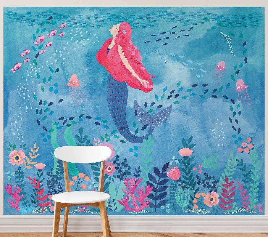 Tyringham Mermaid Magic Peel And Stick 9 83 L X 94 W Wall Mural In 2021 Kids Room Murals Kids Room Paint Kids Wall Murals