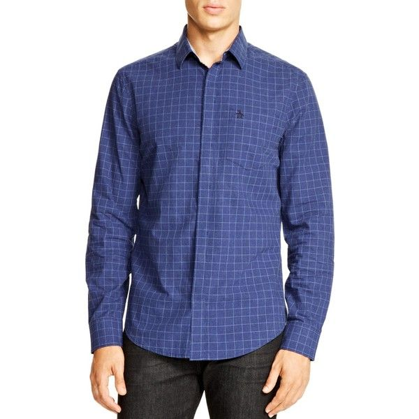 Original Penguin Windowpane Check Slim Fit Button Down Shirt - 100%... ($110) ❤ liked on Polyvore featuring mens, men's clothing, men's shirts, men's casual shirts and indigo