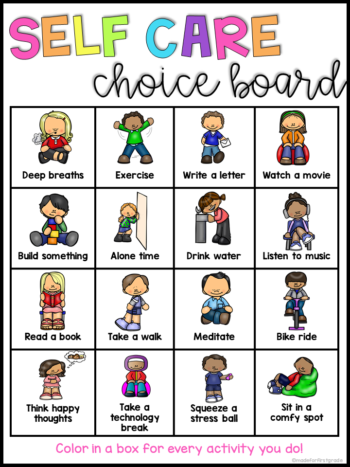 Self Care Choice Board Social Emotional Learning Self Care Activities Primary Activities