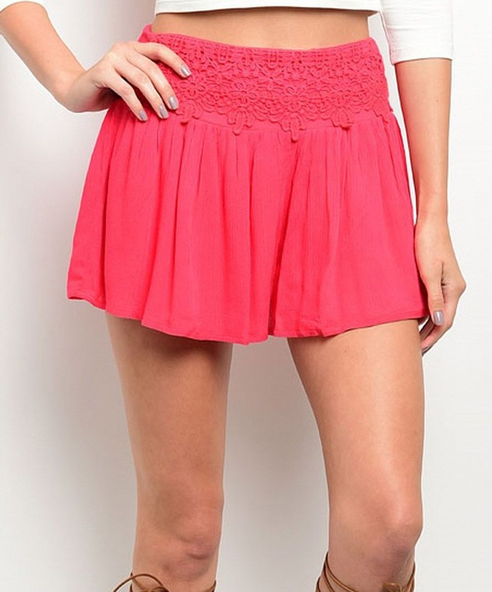 Love this Coral Crochet-Accent Shorts by Shop the Trends on #zulily! #zulilyfinds