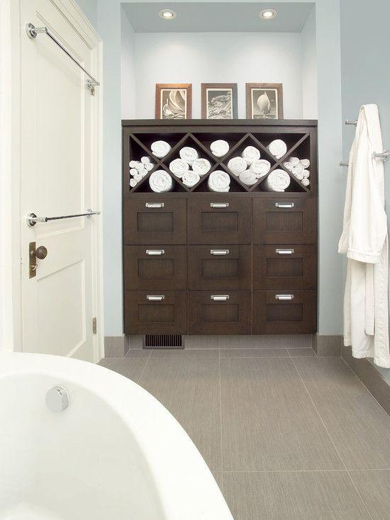 Beautiful bathroom storage.