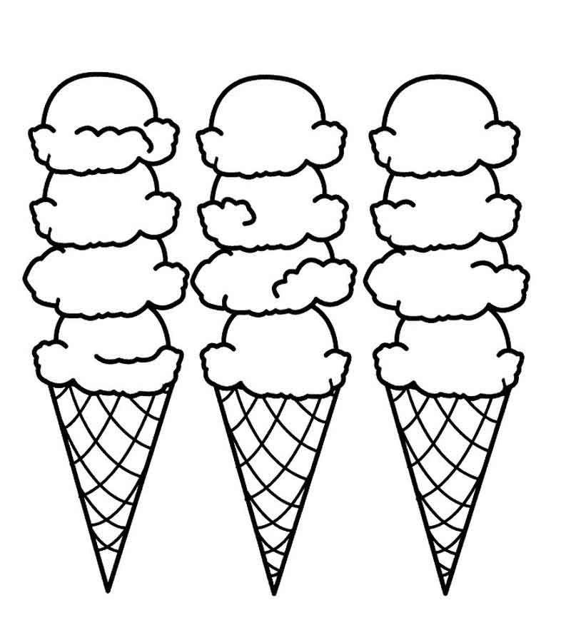 Ice Cream Cone Coloring Page 1 Gambar
