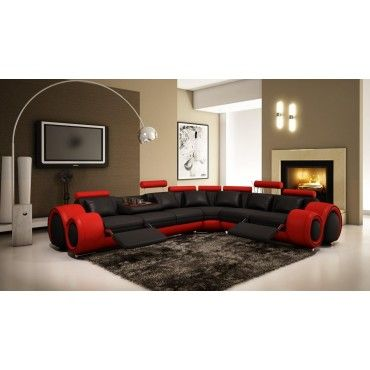 Walden Black And Red Sectional Sofa With Recliners Sofas Living Room