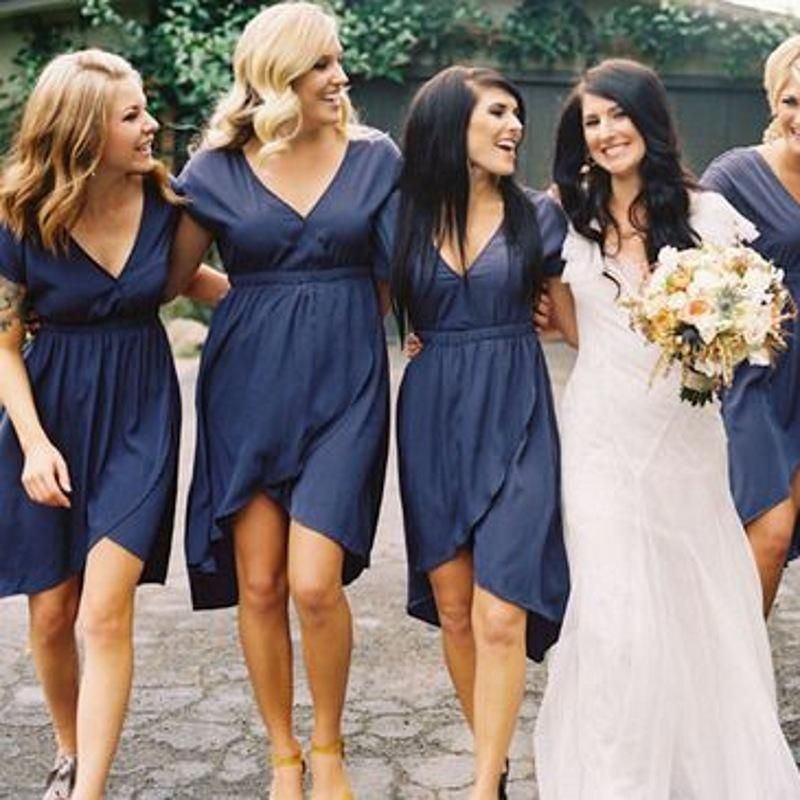 Short Sleeves Knee Length Bridesmaid Dress With Deep V Neck High Low Navy Blue Casual Bridesmaid Dresses Casual Wedding Dress Chiffon Bridesmaid Dresses Short
