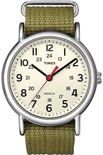 11cff9d65900 Timex Weekender - Reloj analógico unisex de cuarzo con correa textil verde  (luz) - sumergible a 30 metros