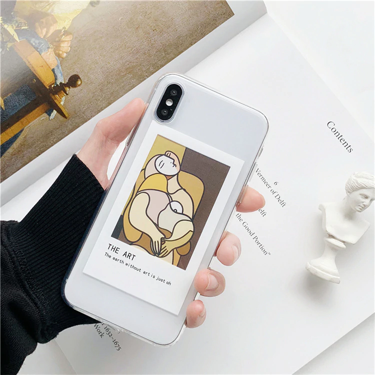 Free Shipping Oil Painting Card Clear Tpu Phone Cases For Iphone Xs Max X Xr Xs For Iphone 6 6s 7 8 Plus Photo Frame Case Back Cover Jkp2197 Telefonlar Tuval Sanati Cizim