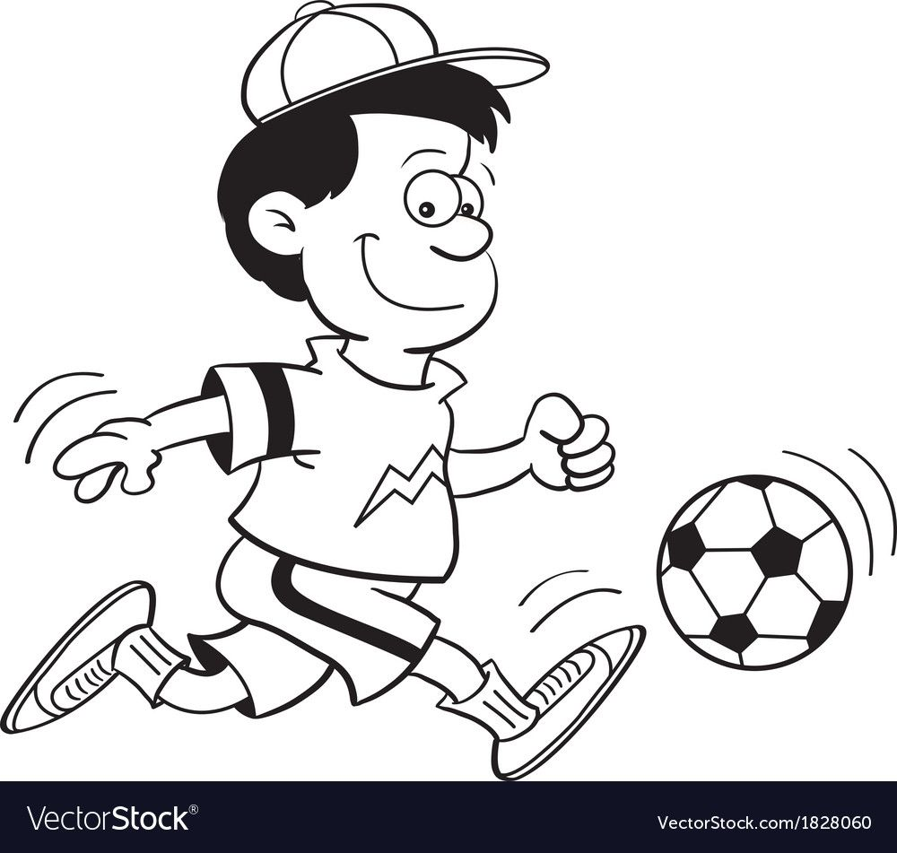 Cartoon Boy Playing Soccer Vector Image On Cartoon Boy Art Black And White Illustration