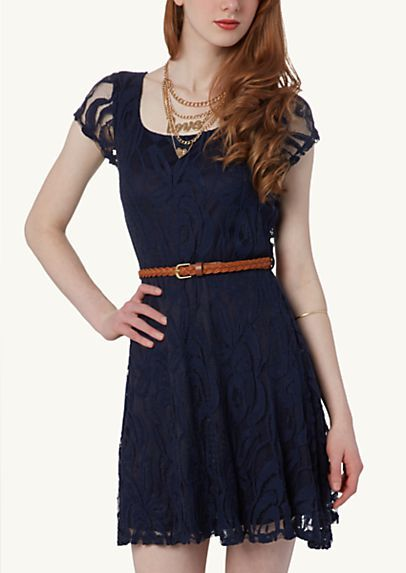 203e50f0858 image of Belted Lace Skater Dress