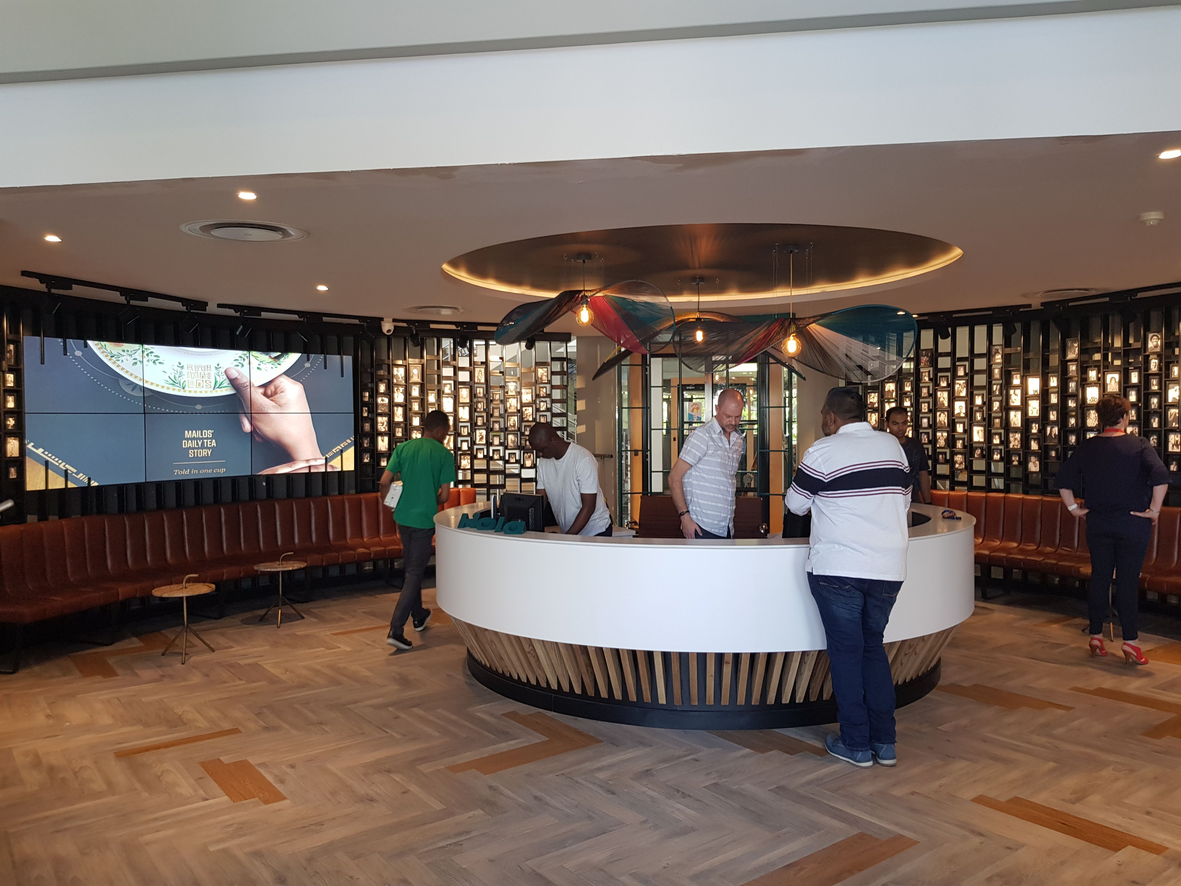 Reception counter. Coffee shop and informal meeting space