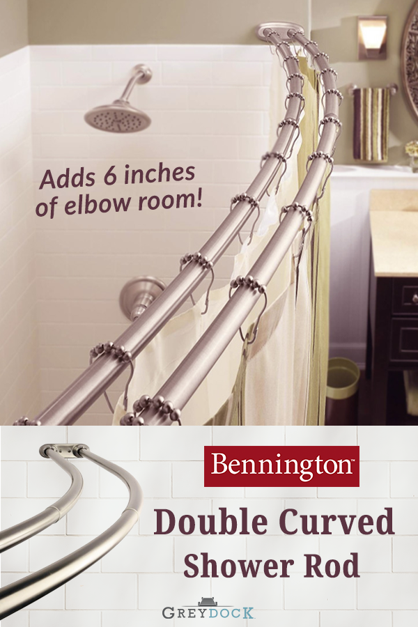 Bennington Adjustable Double Curved Shower Curtain Rod Satin
