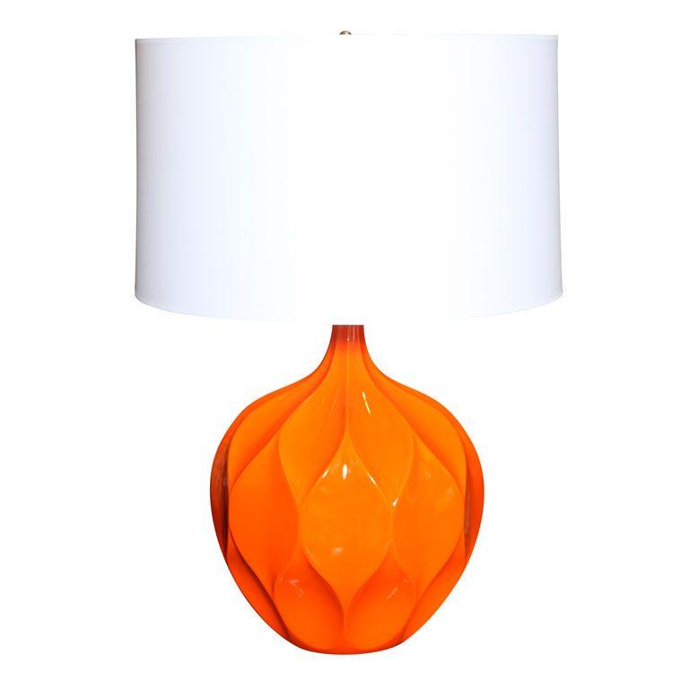Large Orange Honeycomb Ceramic Lamp 1stdibs Com Ceramic Lamp Lamp Vintage Table Lamp
