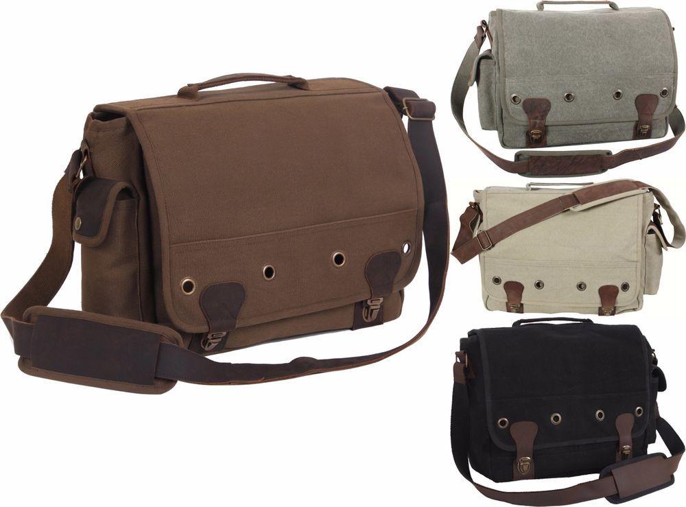 8b51eea3fe25 Details about Trailblazer Canvas & Leather Messenger Shoulder Bag ...