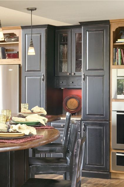those tall gray cabinets are awesome! | Distressed ...