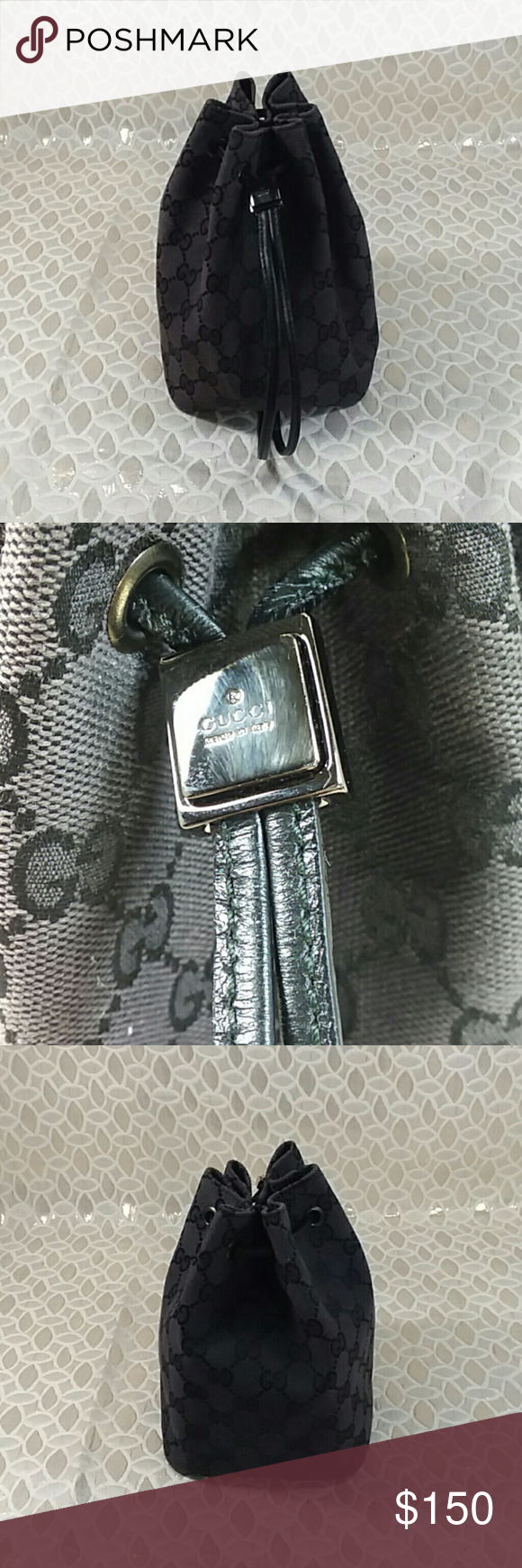 102cc3635cb6 Authentic Gucci GG Monogram String Small Bag. Canvas and leather showed  signs of used as the bag was preowned. The bag was made in Italy with a  serial ...