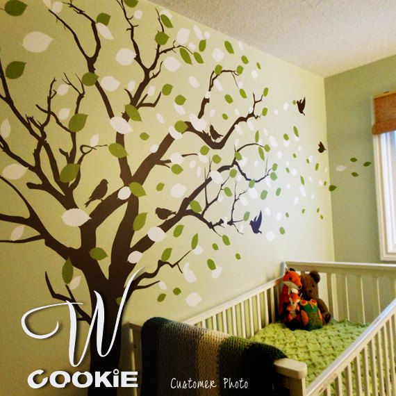 Wall decal, Tree with blowing leaves - Nursery Wall Decal   Babies ...