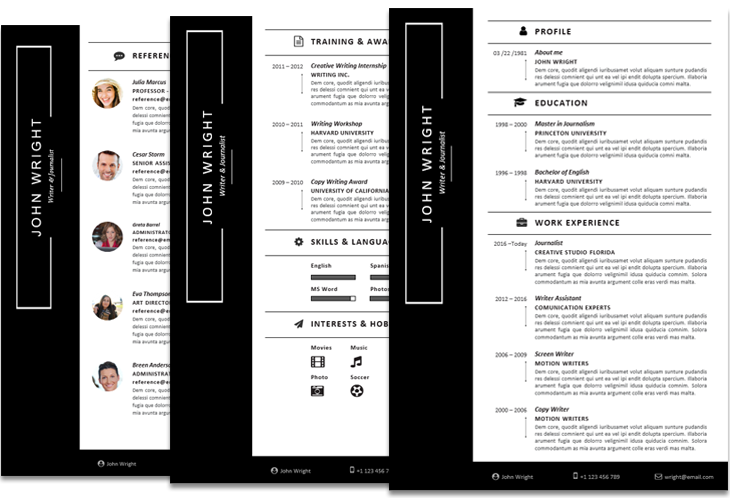 John Wright Resume Template with Sidebar Instant