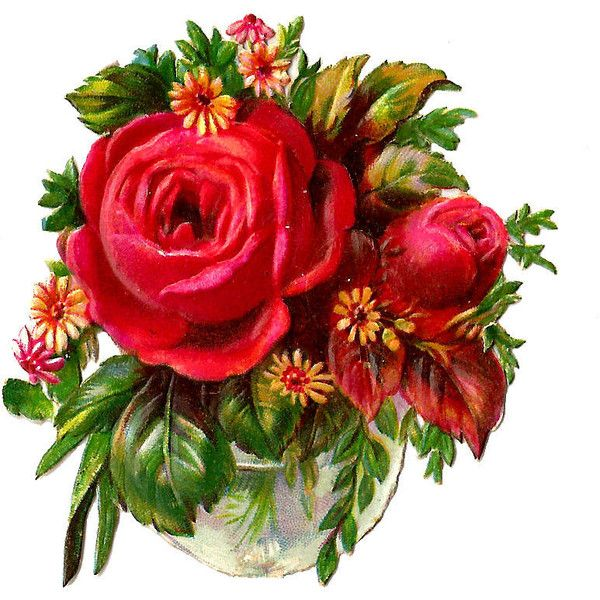 Free Flower Clip Art Red Rose Bouquet Victorian Die Cut ❤ liked on ...