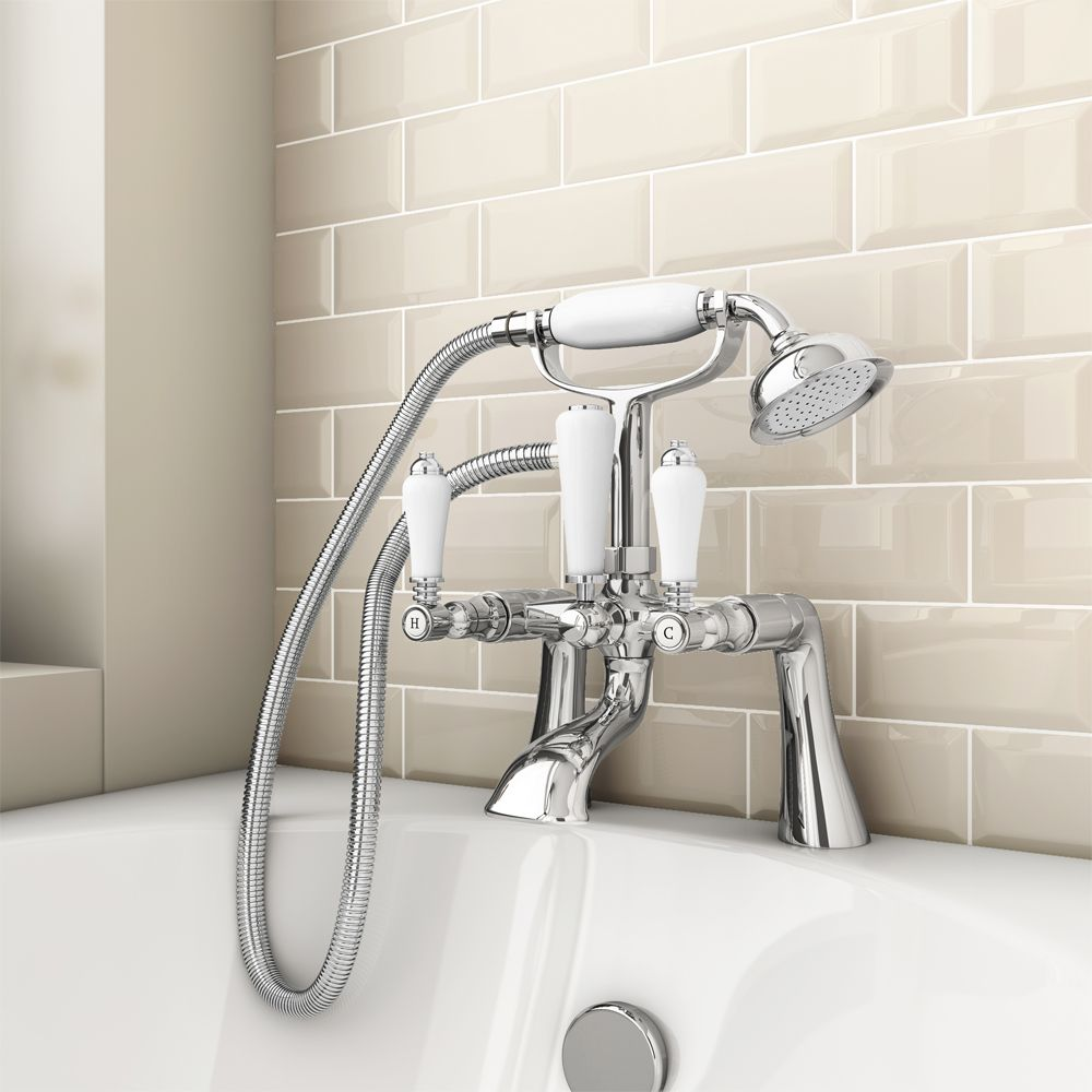 Lancaster Traditional Bath Shower Mixer Tap + Shower Kit ...
